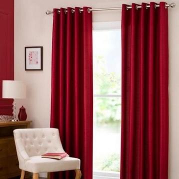 ผ้าม่านหน้าต่างสวย สีแดง