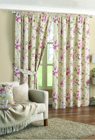 ผ้าม่านวินเทจ ดอกไม้สีชมพู