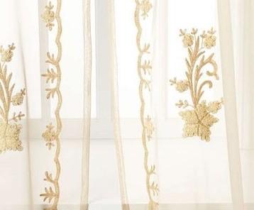 ผ้าโปร่งลายปัก สวยงาม ทอง