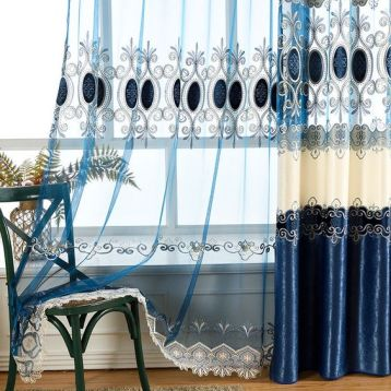 ผ้าโปร่งลายปัก สีน้ำเงิน