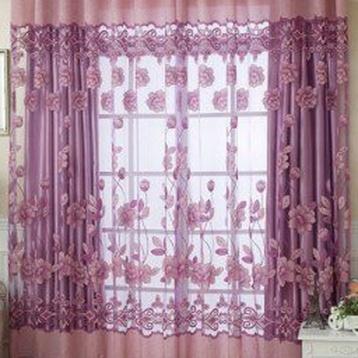 ผ้าม่านสีชมพูม่วง