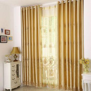 ผ้าม่านสีทอง ชุดโปร่งและทึบ