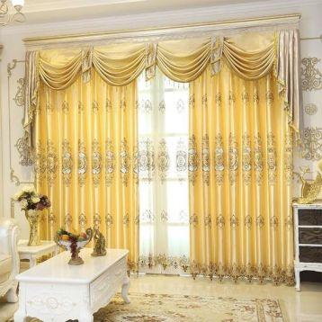ผ้าม่านหลุยส์สีทองเหลือง