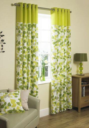 ผ้าม่านสีเขียวขาวลายธรรมชาติใบไม้