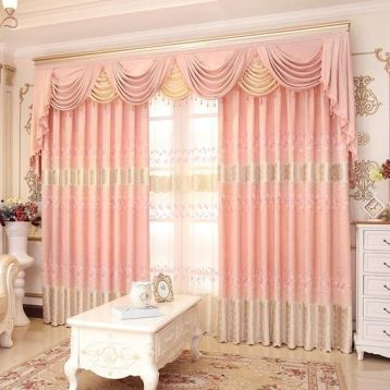 ผ้าม่านหลุยส์ สวยงาม สีชมพู