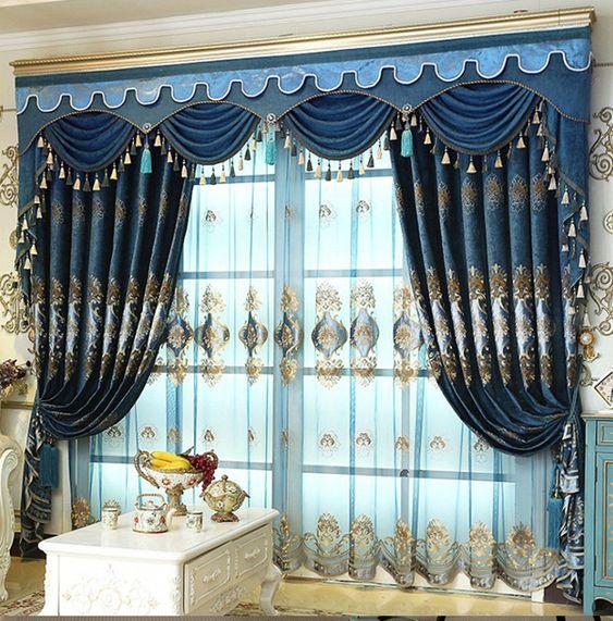 ผ้าม่านหลุยส์ สีน้ำเงิน สวย