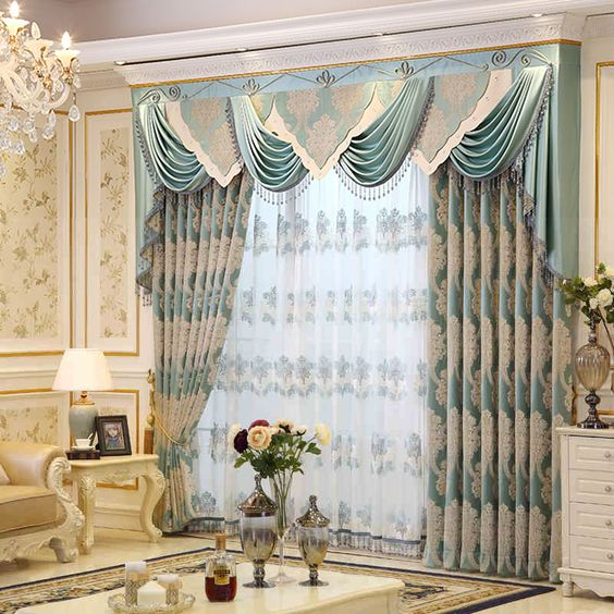 ผ้าโปร่งลายปัก แต่งห้อง สีฟ้า