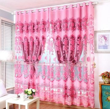 ผ้าโปร่งลายสีชมพู ลายปัก