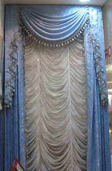 swag curtains blue