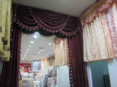 swag curtains dark red
