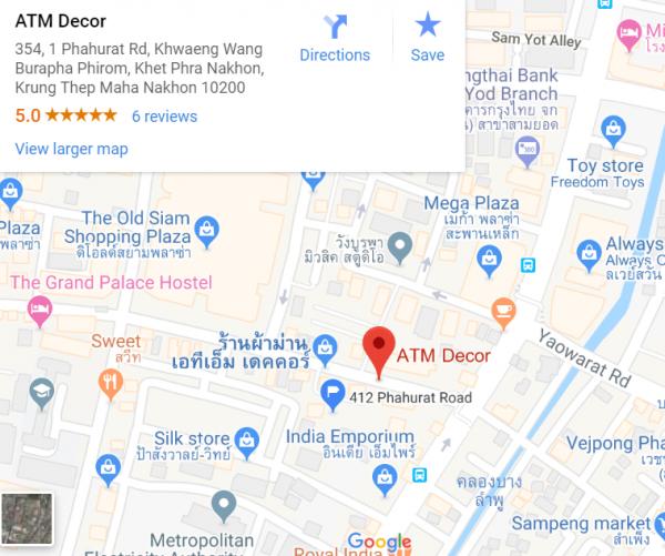 แผนที่ ร้านผ้าม่าน ATM Decor บริษัท แฟบริค พลัส ถนนพาหุรัด