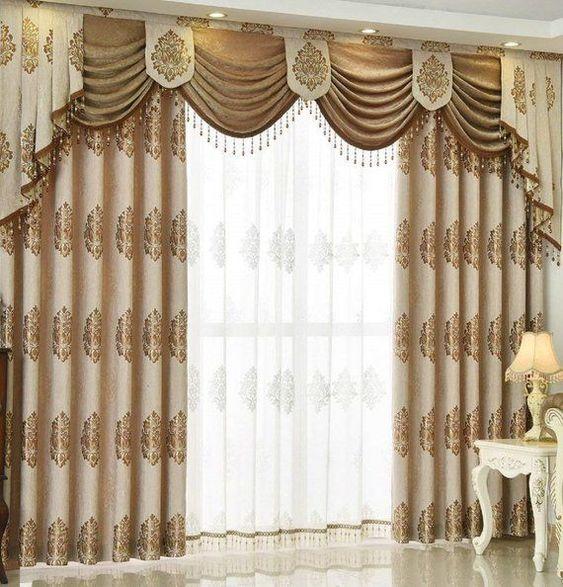 ผ้าม่านลายสีทอง สวย