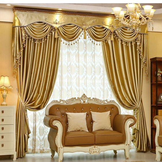 ผ้าม่านสีทอง สวยๆ
