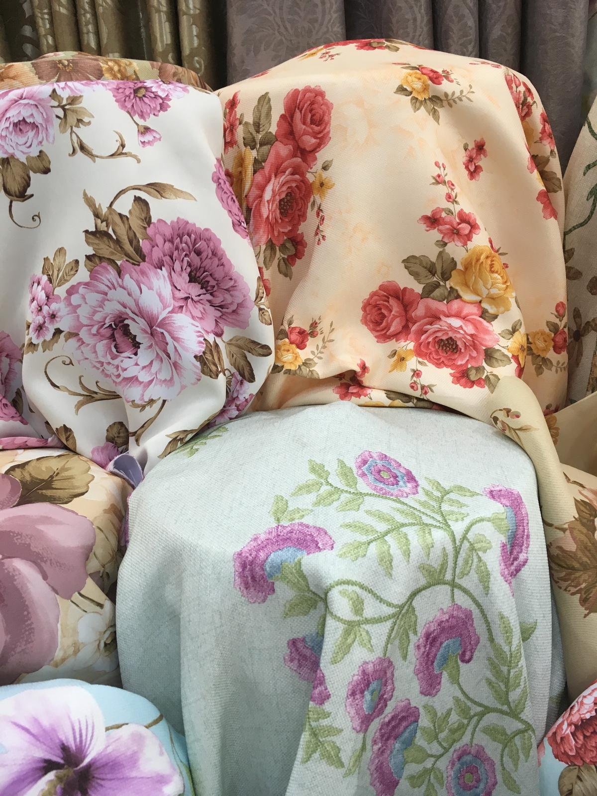 ผ้าม่านกันUV แบบลายทอดอกไม้แนววินเทจ