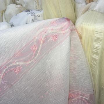 ผ้าม่านโปร่ง ลายทางชมพู สวย ร้านผ้าม่านพาหุรัด