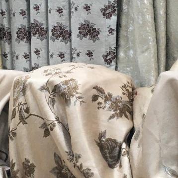 ผ้าหุ้มเบาะ สีครีม ลวดลายทอ Yarn Dye สวย หรู เนื้อผ้าหนานุ่ม