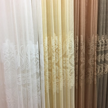 ผ้าม่านโปร่งลายปัก มีหน้ากว้างพิเศษ สำหรับตัดเย็บผ้าม่านแบบไร้รอยต่อ